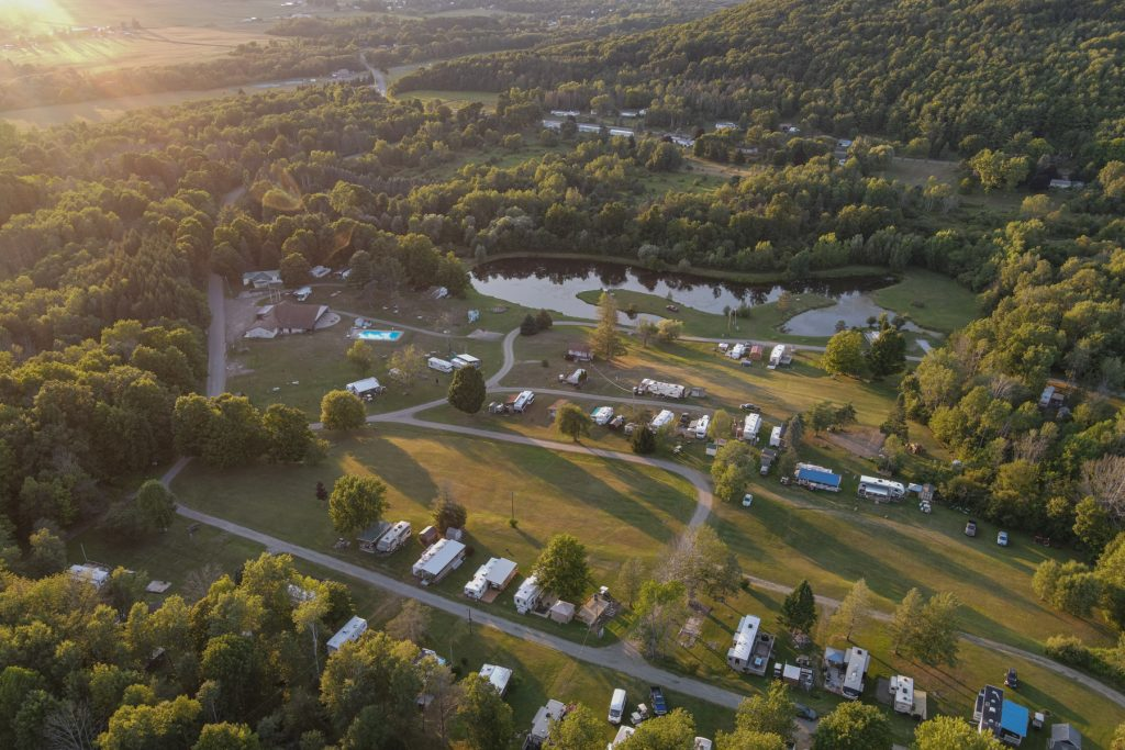 An aerial view of the Finger Lakes Campground in Prattsburgh, New York.