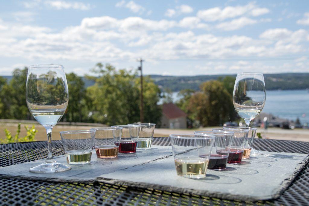 A wine tasting flight from Ravines Wine Cellars on Keuka Lake in the Finger Lakes Region in upstate New York.