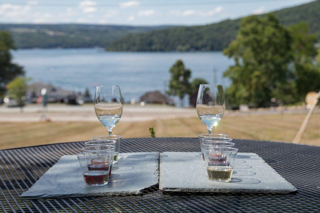 Two wine tasting flights at Ravines Wine Cellars on Keuka Lake in the Finger Lakes Region in upstate New York.
