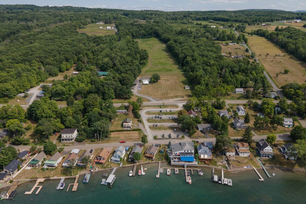 An aerial view of Ravines Wine Cellars along Keuka Lake in the Finger Lakes Region in upstate New York.