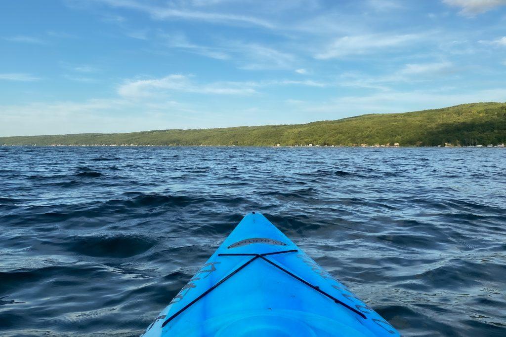 The view of Keuka Lake from a kayak.