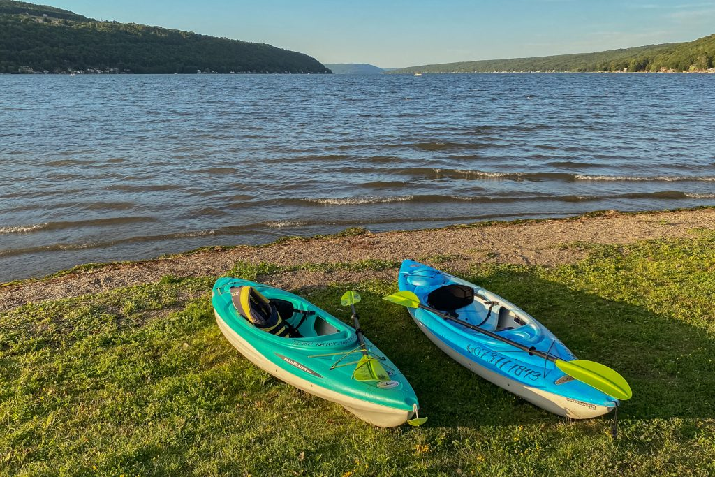 Kayaks along the shore of Keuka Lake, one of the Finger Lakes of Upstate New York.