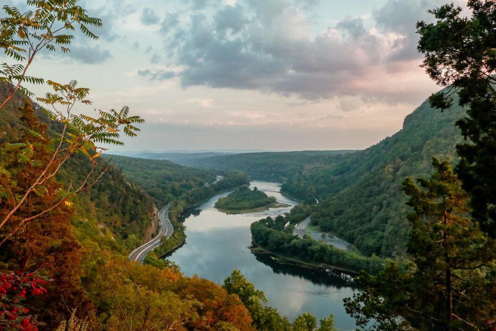 A view of the Delaware Water Gap during sunset.
