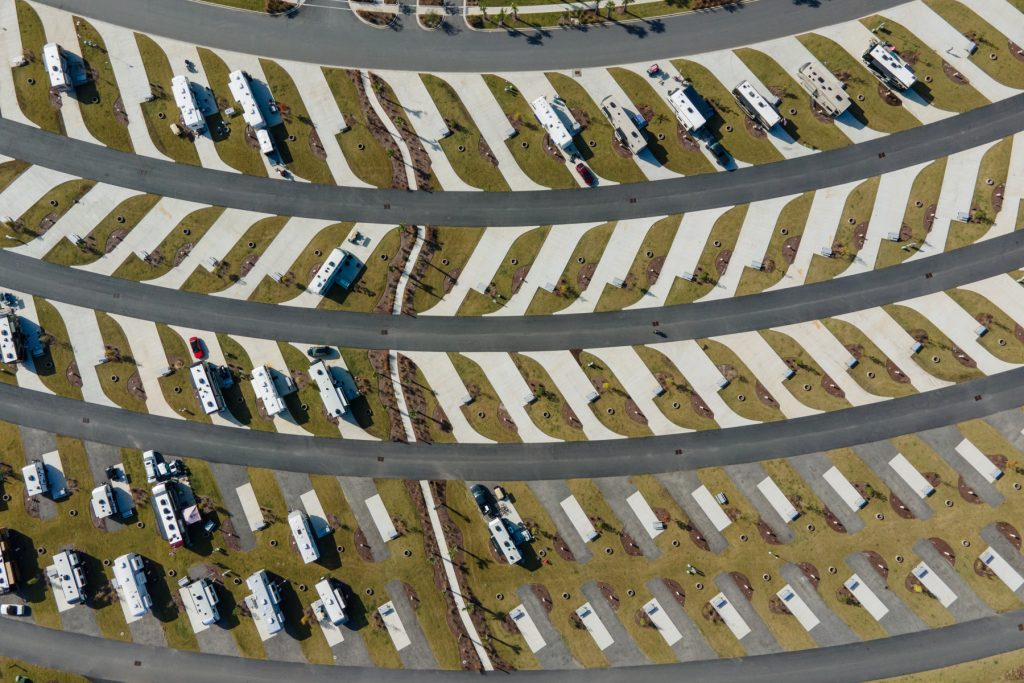 An aerial view of RV campsites at Carolina Pines in Conway, South Carolina.
