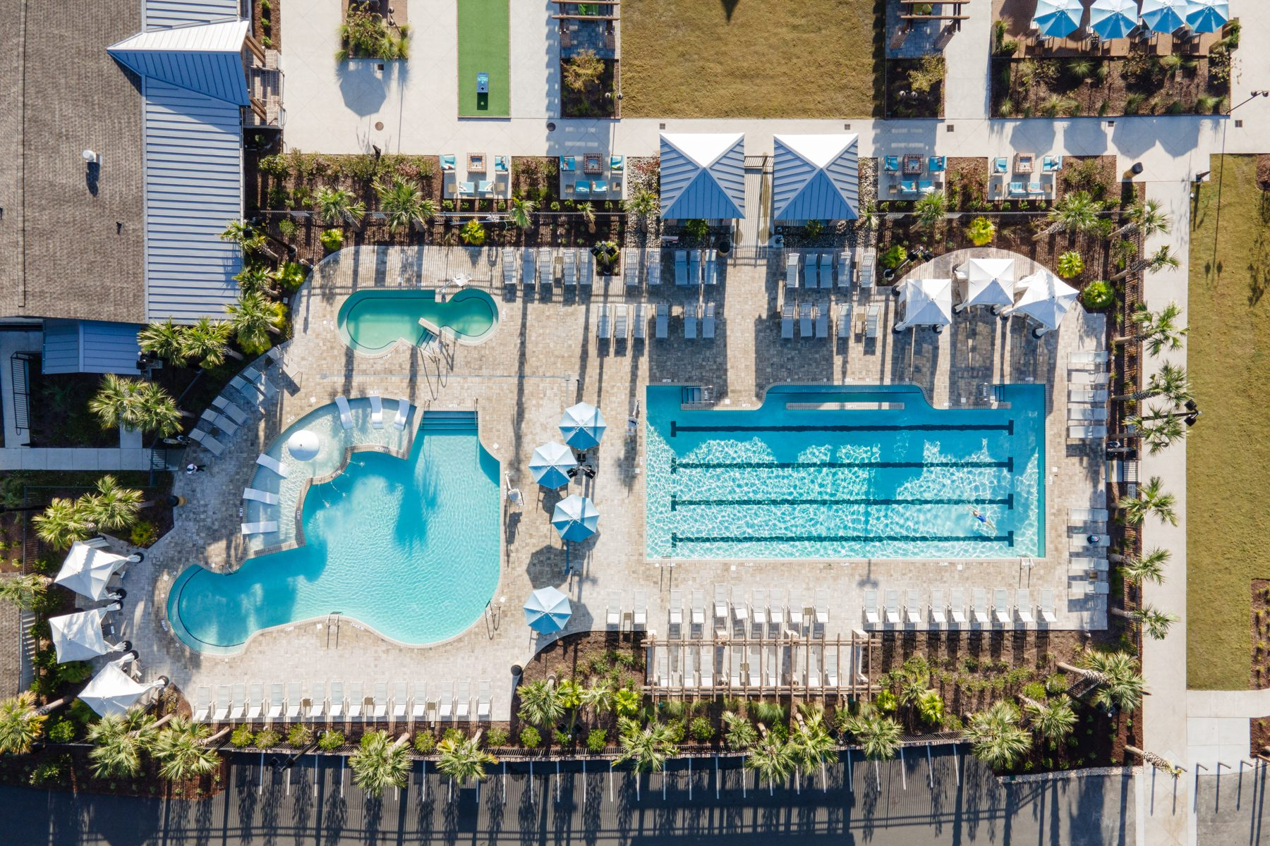 A birds-eye view of the serenity pool area at Carolina Pines Resort in Conway, South Carolina.