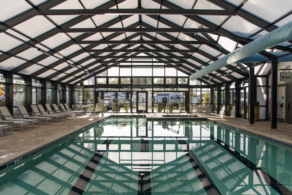 The indoor pool located at Carolina Pines Resort in Conway, South Carolina.