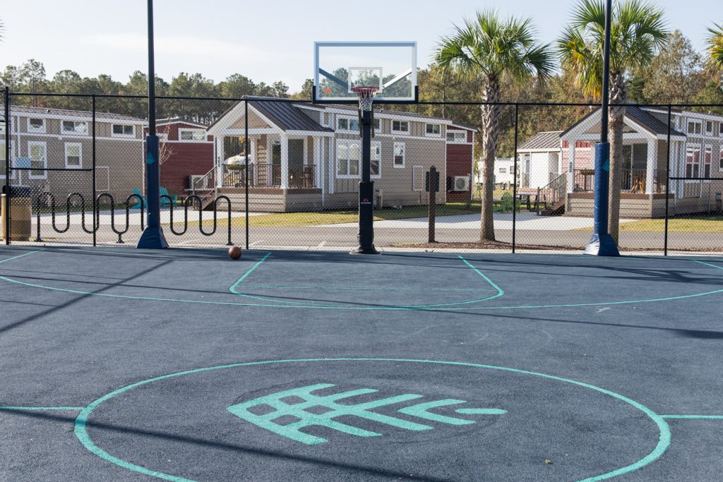 The basketball court at Carolina Pines Resort in Conway, South Carolina.