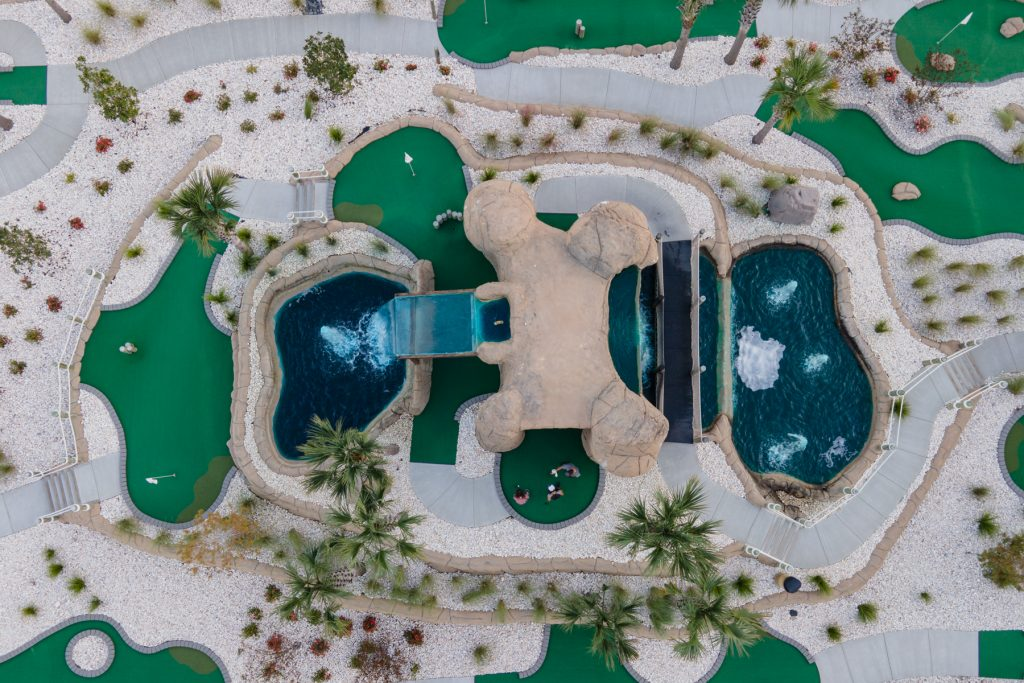 A birds-eye view of the mini golf area at Carolina Pines in Conway, South Carolina.