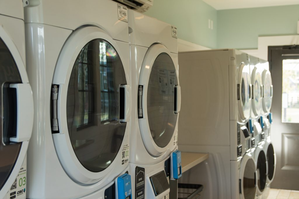 The laundromat with brand new machines at Carolina Pines Resort in Conway, South Carolina.