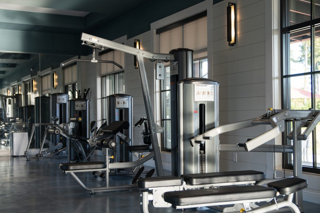 The gym with different weight machines at Carolina Pines Resort in Conway, South Carolina.