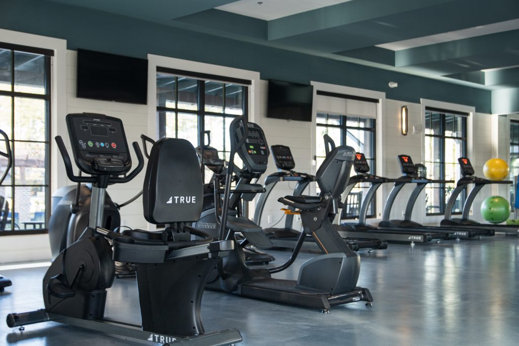The indoor gym with cycling machines and treadmills at Carolina Pines Resort in Conway, South Carolina.
