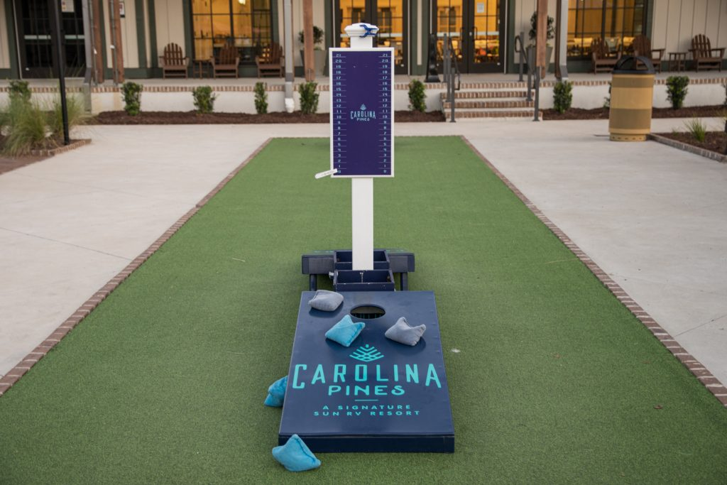 A corn hole game in the Carolina Commons area at Carolina Pines Resort in Conway, South Carolina.