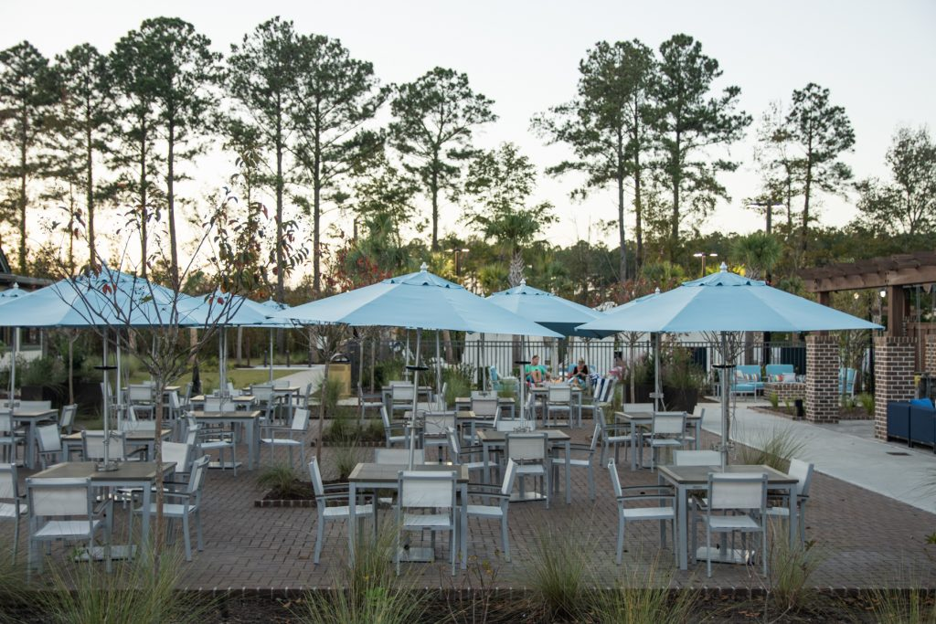 The outdoor eating area in the Carolina Commons area at the Carolina Pines Resort in Conway, South Carolina.