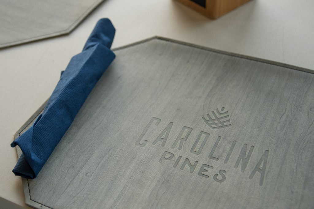 The placemat of the restaurant at Carolina Pines Resort in Conway, South Carolina.
