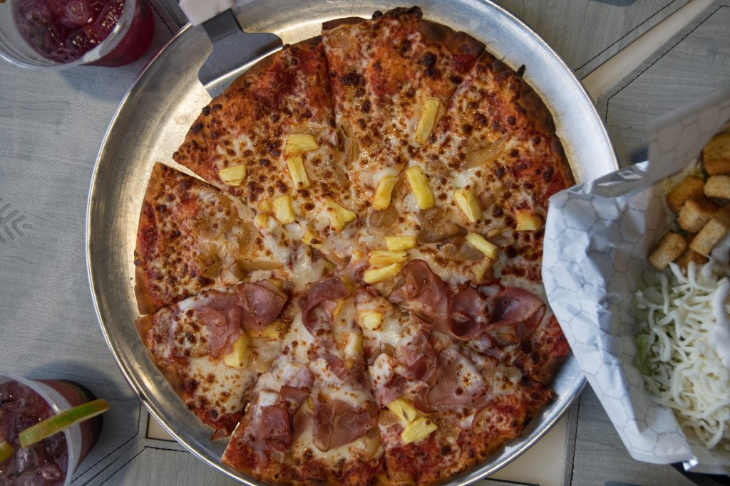 A Hawaiian pizza from the Low-Landing Country Restaurant at Carolina Pines Resort in Conway, South Carolina.