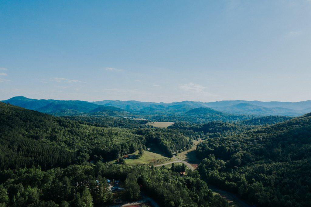 Drone shot of green mountain range in Virginia.