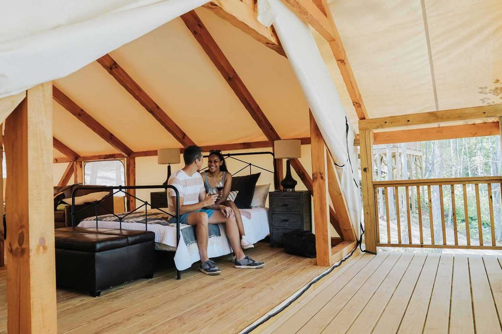 Glamping tents at Golden Valley