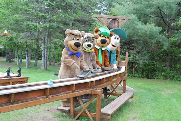 Yogi bear and characters mining for gold at Yogi Bear's Jellystone Park™ Camp-Resort: Kingston in Kingston, NS