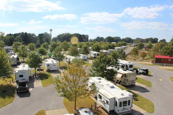 RVs parked in-between trees at Yogi Bear's Jellystone Park™ Camp-Resort: Memphis in Horn Lake, MS