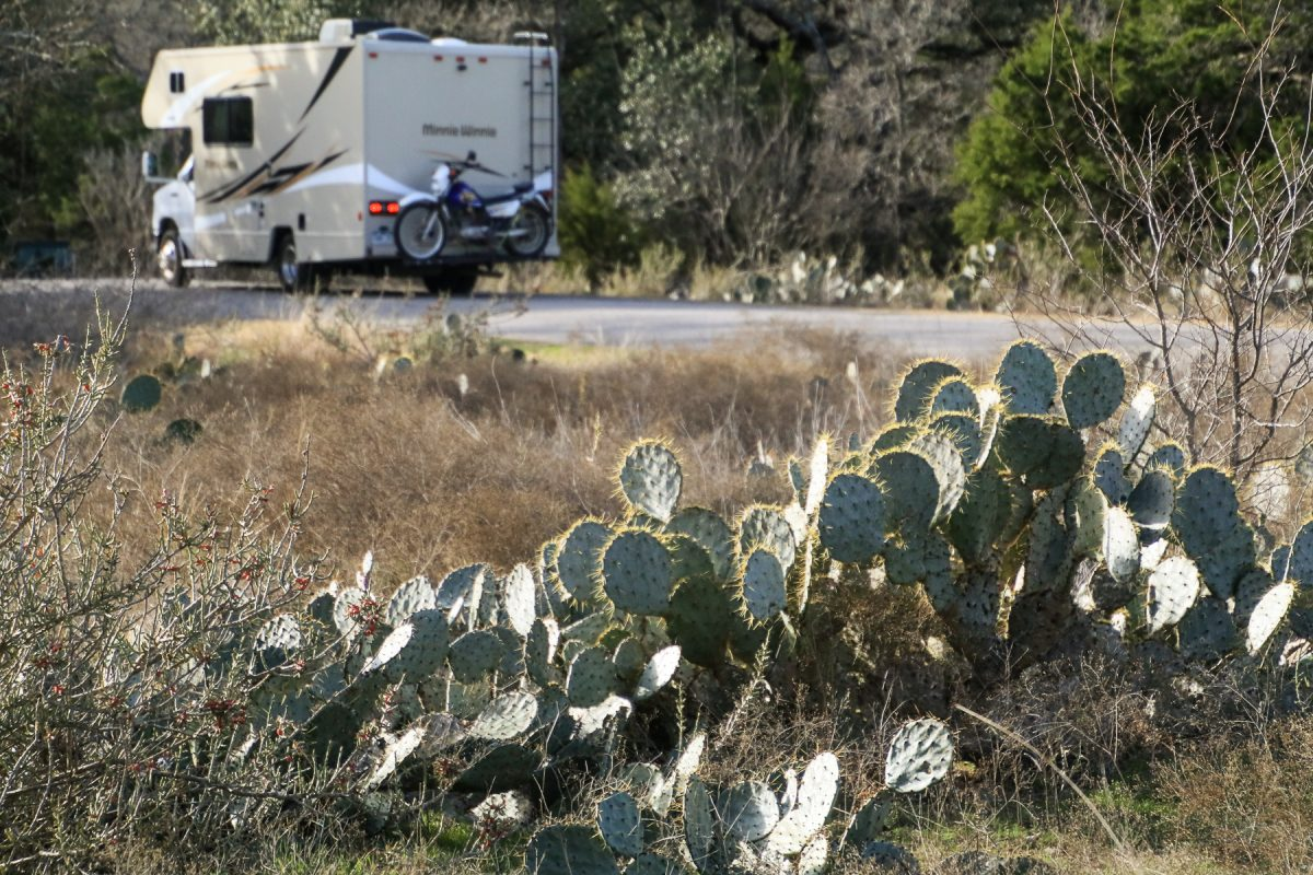 A Winnebago RV, or Winnie, is pulling out of a campground in Big Bend National Park in West Texas.