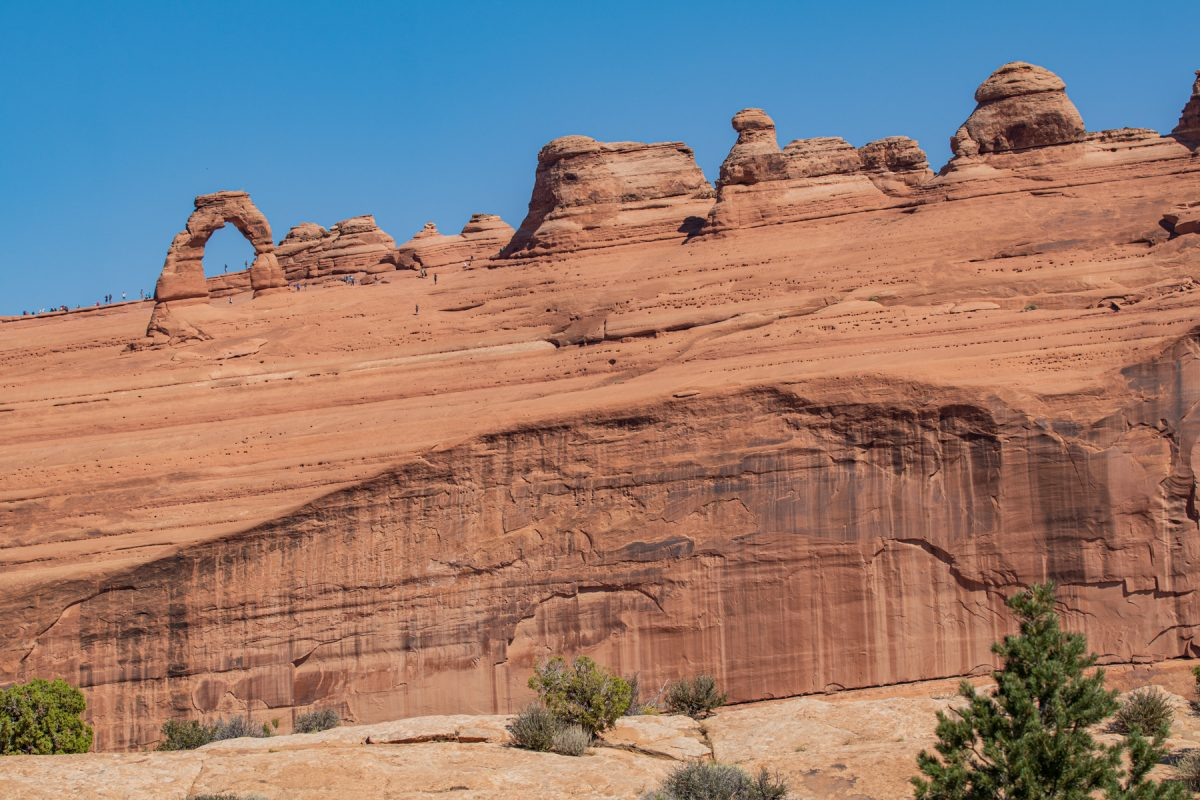 Delicate Arch as can be seen from its upper viewpoint in Arches National Park in Moab, Utah.