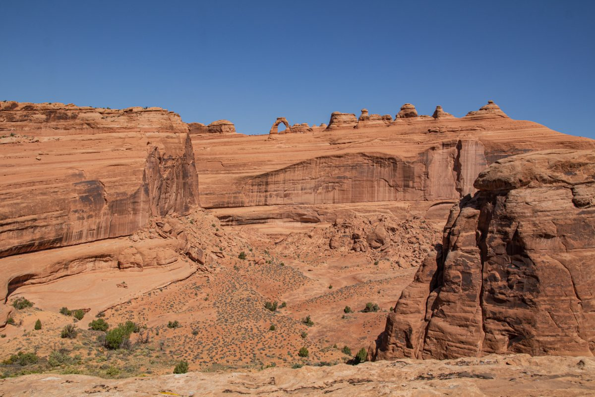 Delicate Arch as can be seen from the its viewpoint across the canyon in Arches National Park in Moab, Utah.