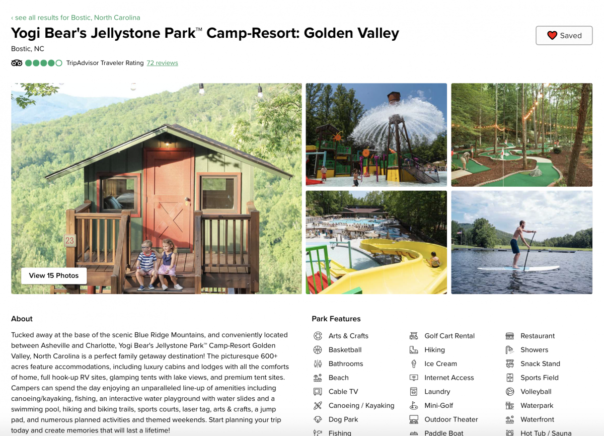 Golden Valley landing page on Campspot.com