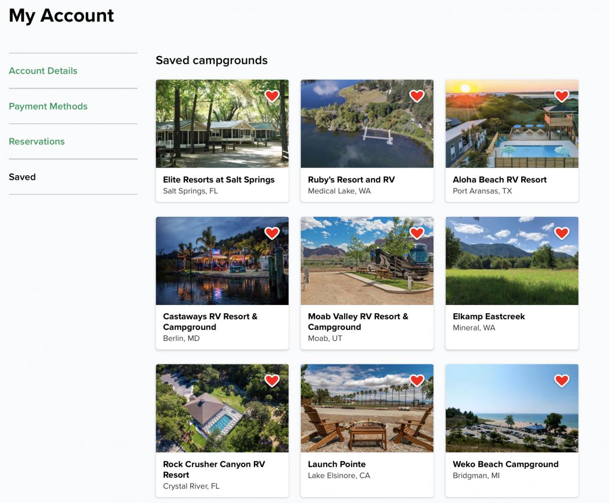 Saved camping destinations on a Campspot.com account.