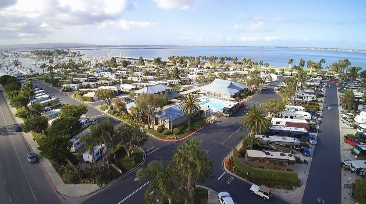 Ariel view of Chula Vista campground with RV sites and the ocean in the background.