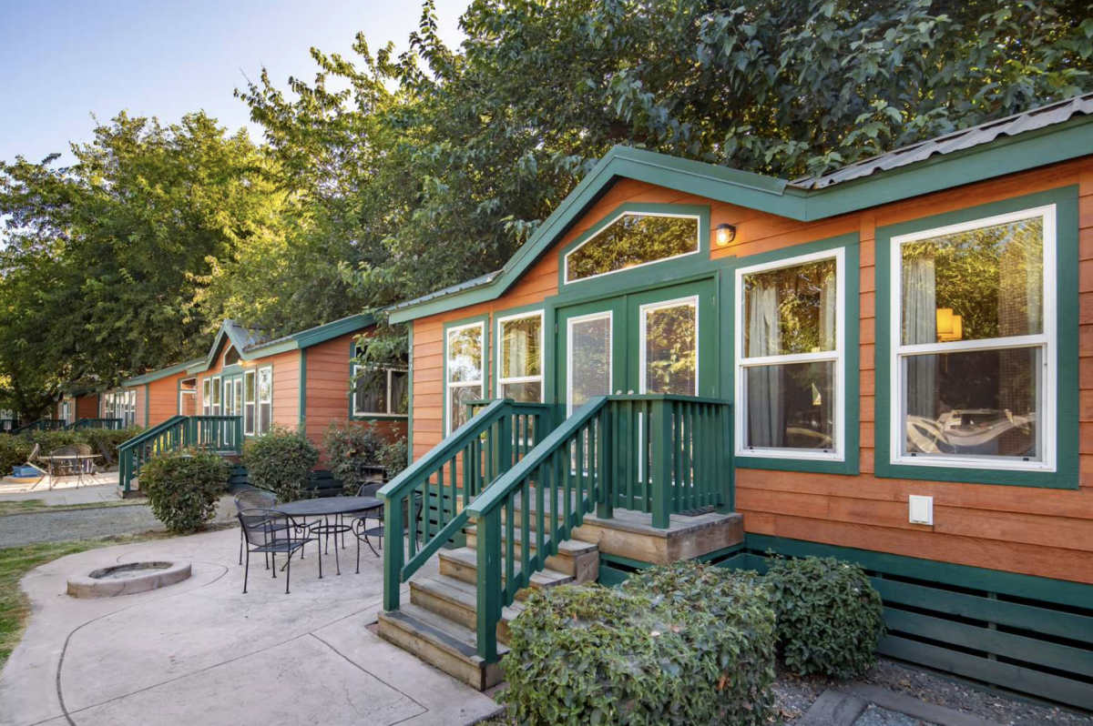 Glamping cabin in the woods at a camp-resort in Lodi, CA.
