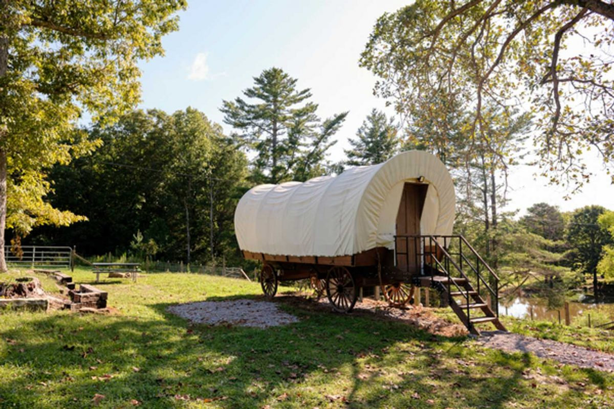 Conestoga wagon at True West Campground.