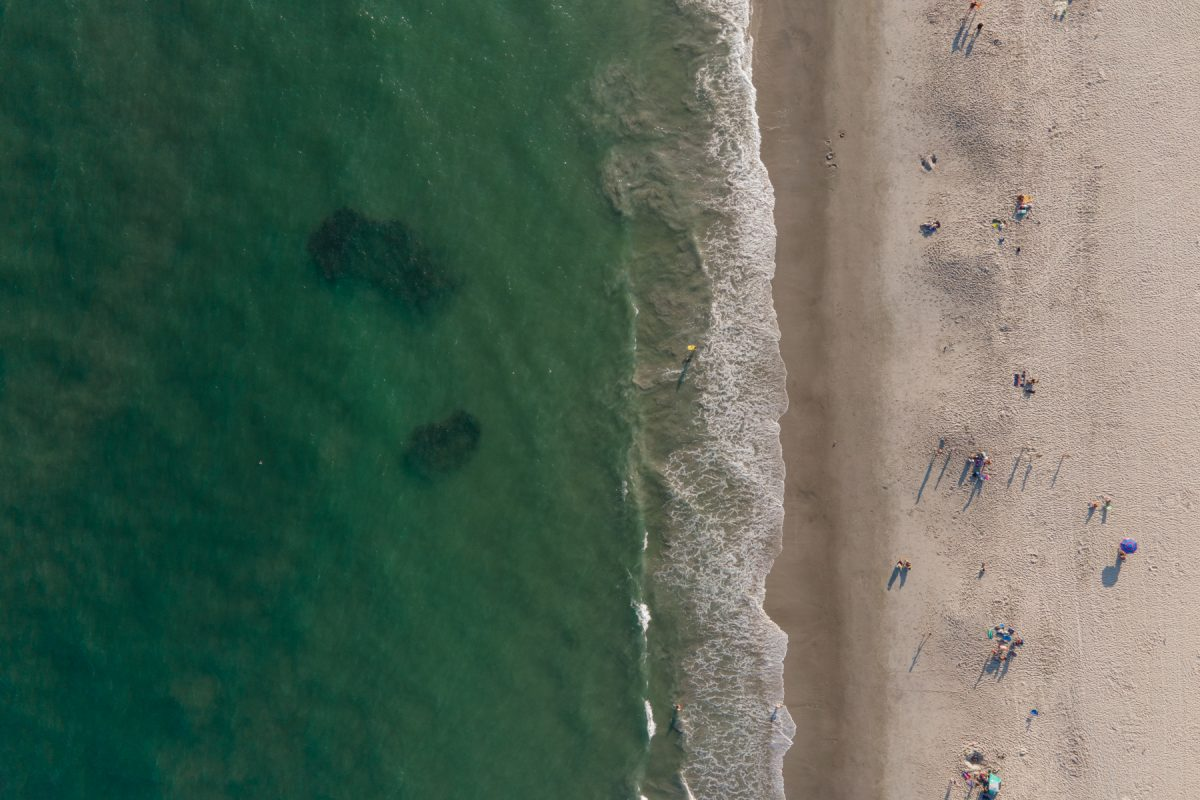An aerial few of beachgoers at Cape May's beach in New Jersey, along the Atlantic coast.