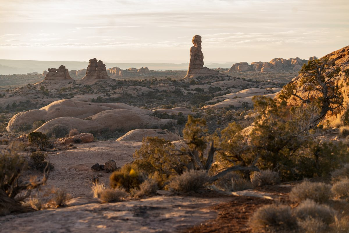 The petrified sand dunes can be seen from the Windows area in Arches National Park in Moab, Utah.