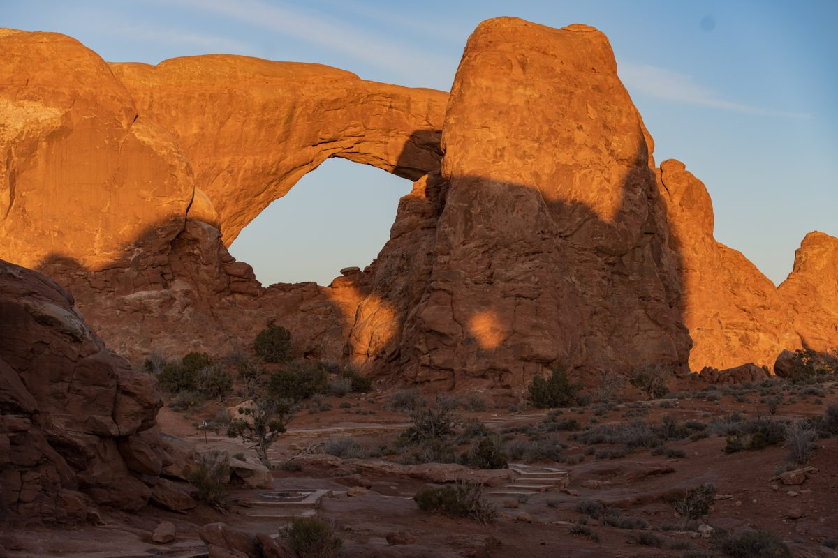 The South Window of the famous Windows Arches in Arches National Park in Moab, Utah.