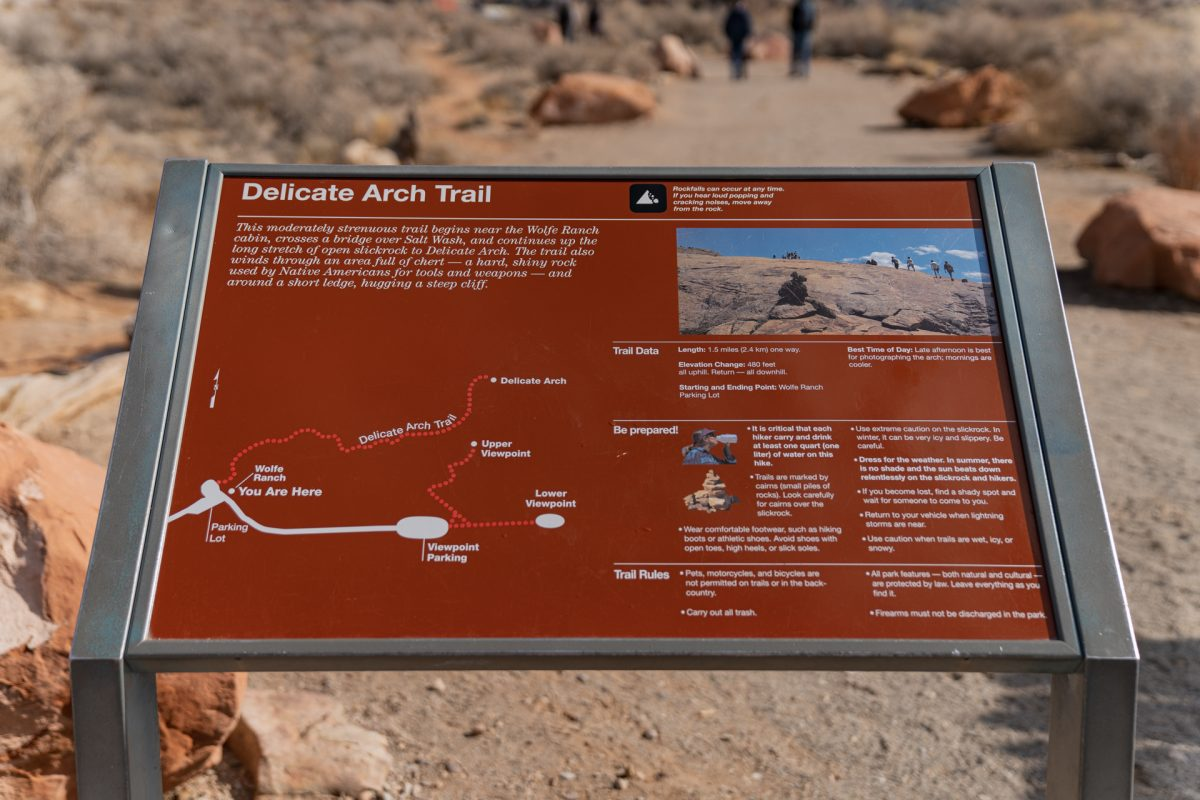 The Delicate Arch Trail overview at its trailhead in Arches National Park in Moab, Utah.