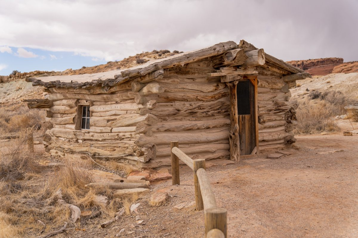 The Wolfe Ranch cabin build in the early 1900s sits at the beginning of the Delicate Arch Trail in Arches National Park in Moab, Utah.