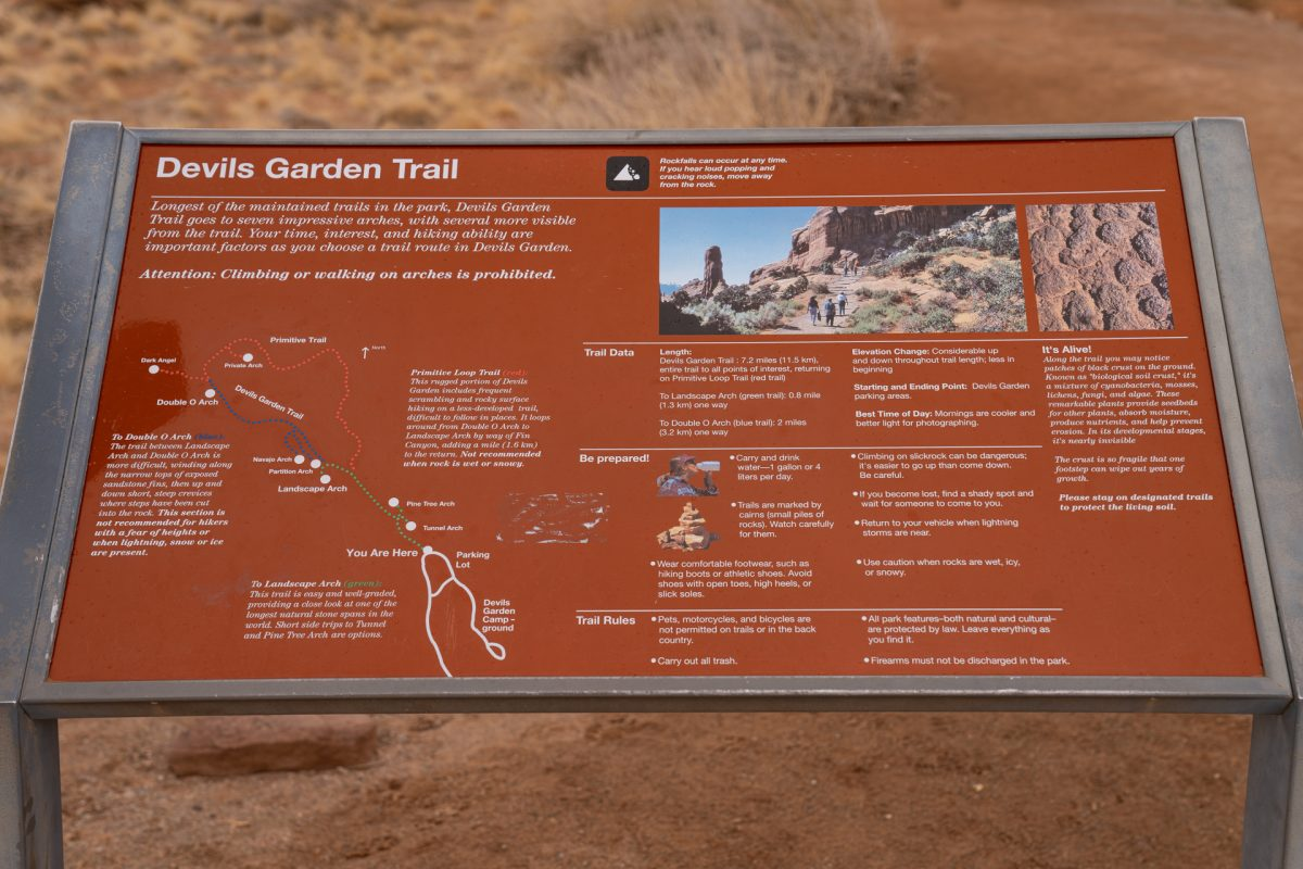The Devils Garden overview located at its trail head in Arches National Park in Moab, Utah.