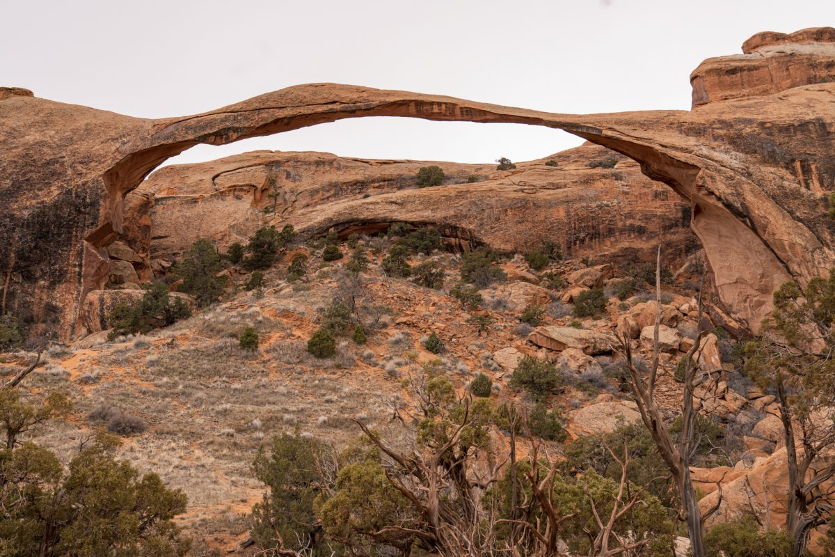 The grand view of Landscape Arch from Devils Garden Trail in Arches National Park in Moab, Utah.