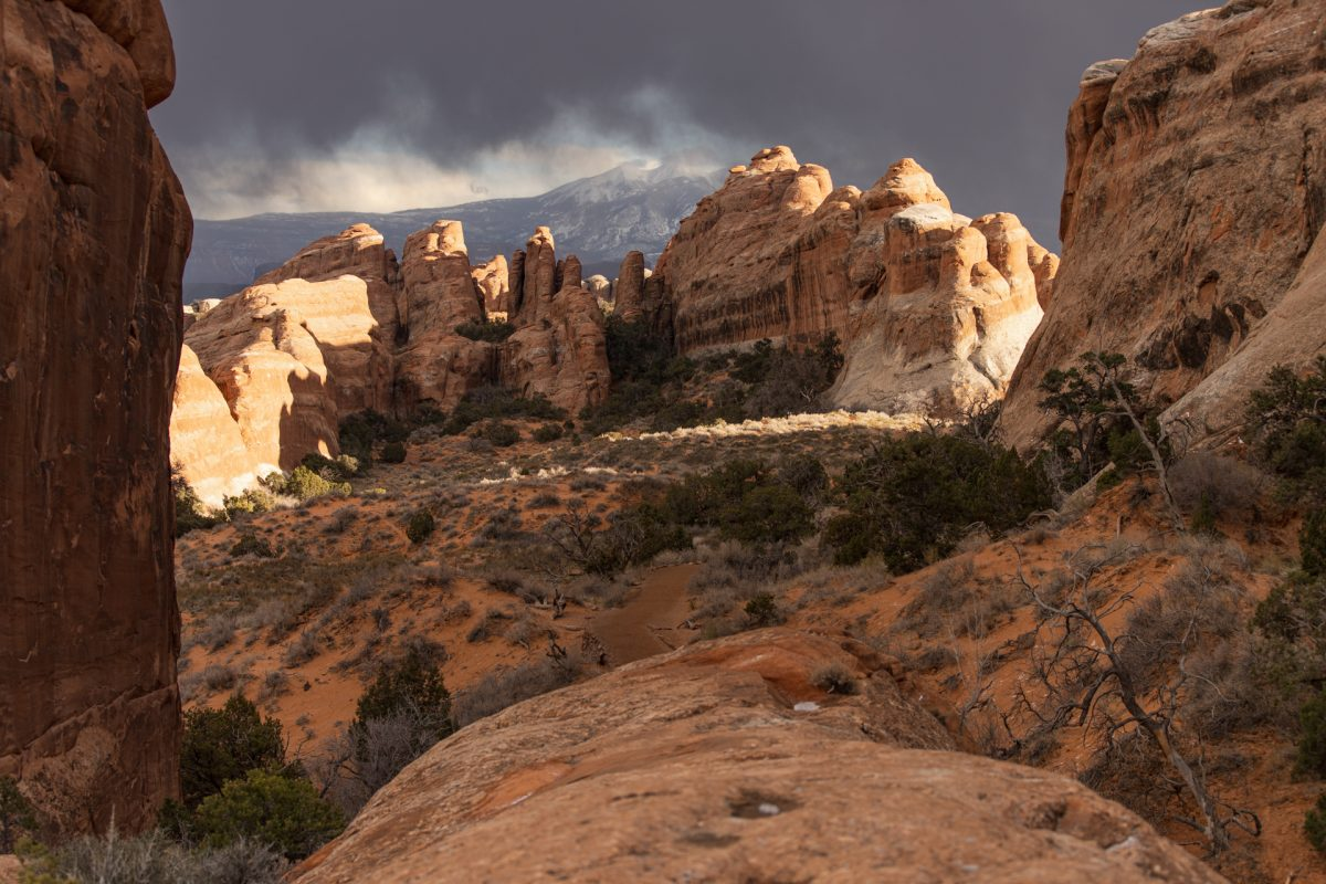 Spires in the distance along the Devils Garden Trail in Arches National Park in Moab, Utah.