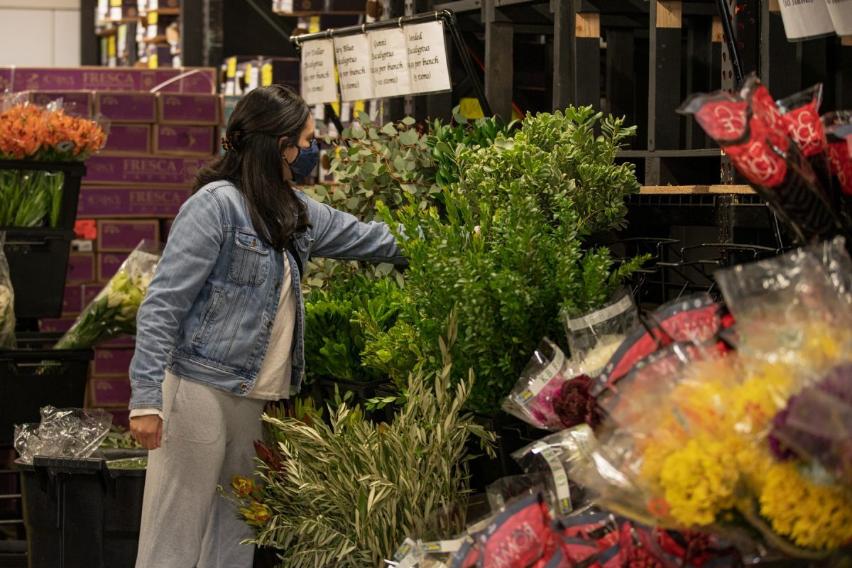 A woman looks through greenery at the Albuquerque Flower Market in Albuquerque, New Mexico.