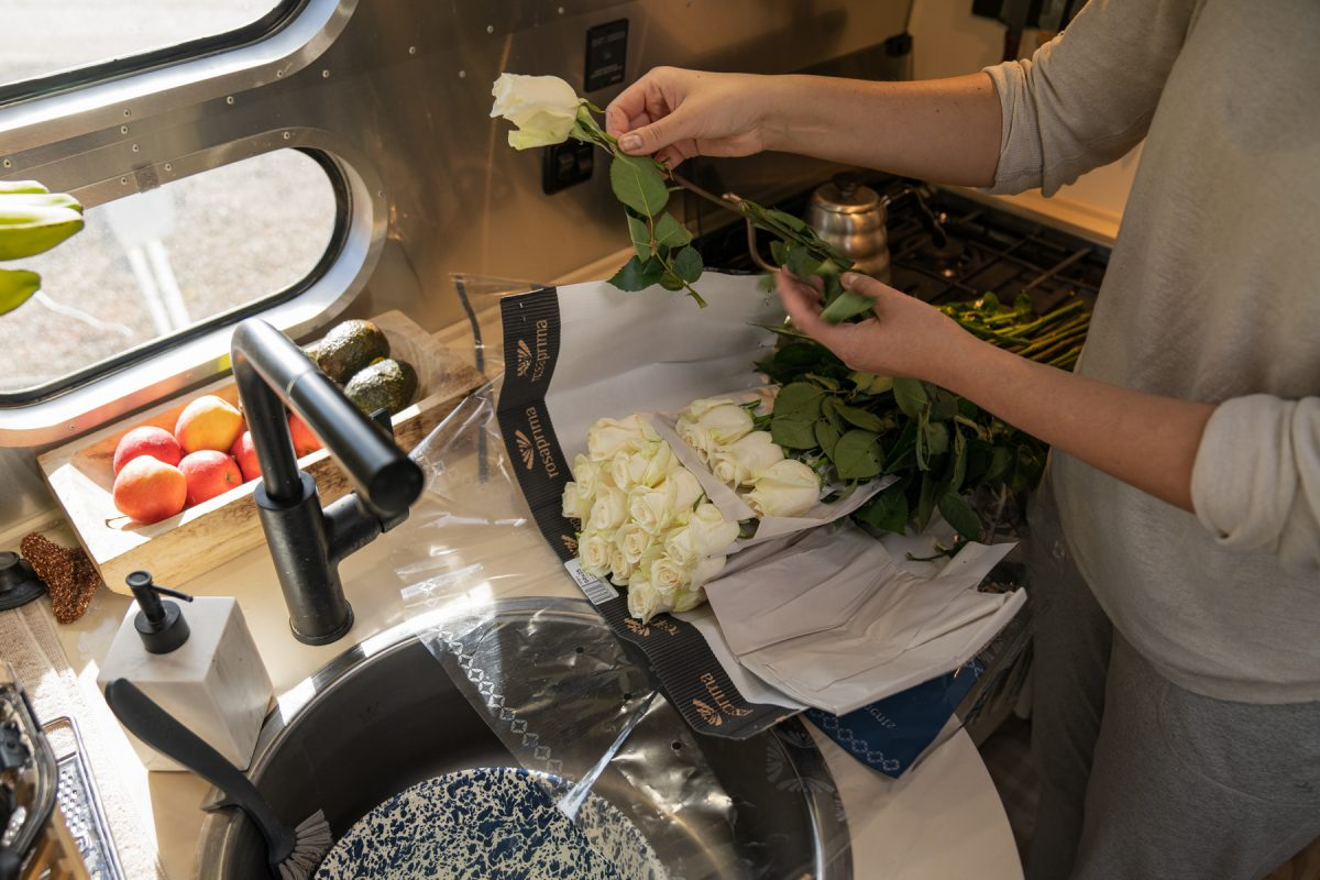 After opening up a packaged bouquet of white roses, a woman de-stems the roses inside an Airstream trailer.