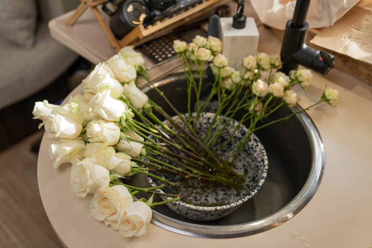 A dozen roses sit inside of an RV sink with its stems resting in a bowl full of water.