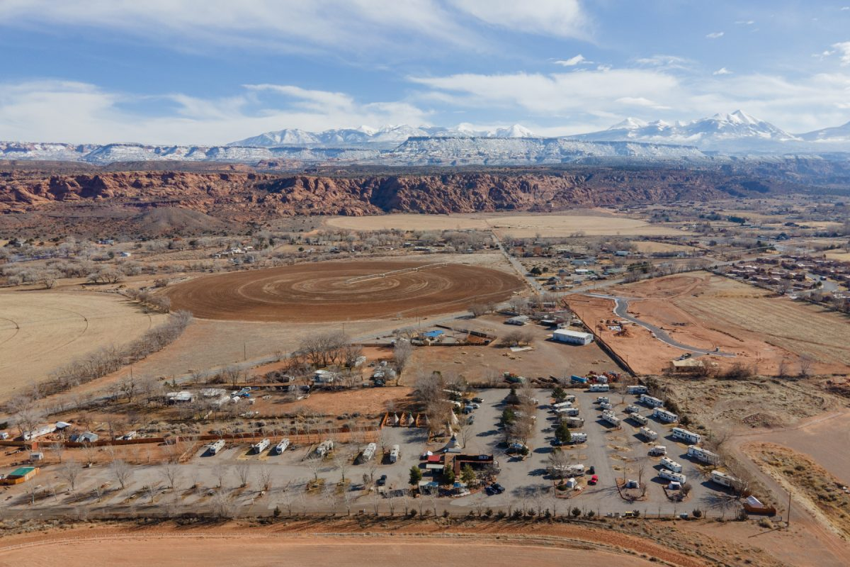 An aerial view of the OK RV Park in Moab, Utah.