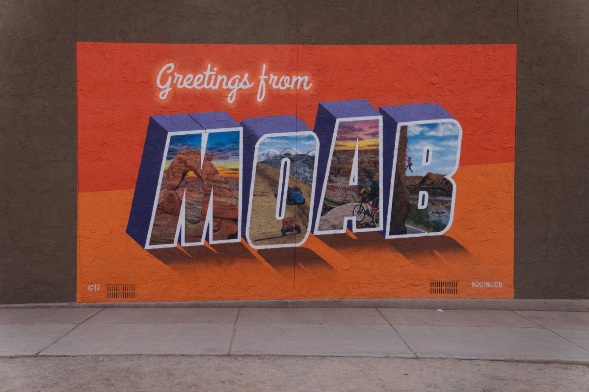 The greetings from Moab mural located in downtown Moab, Utah.