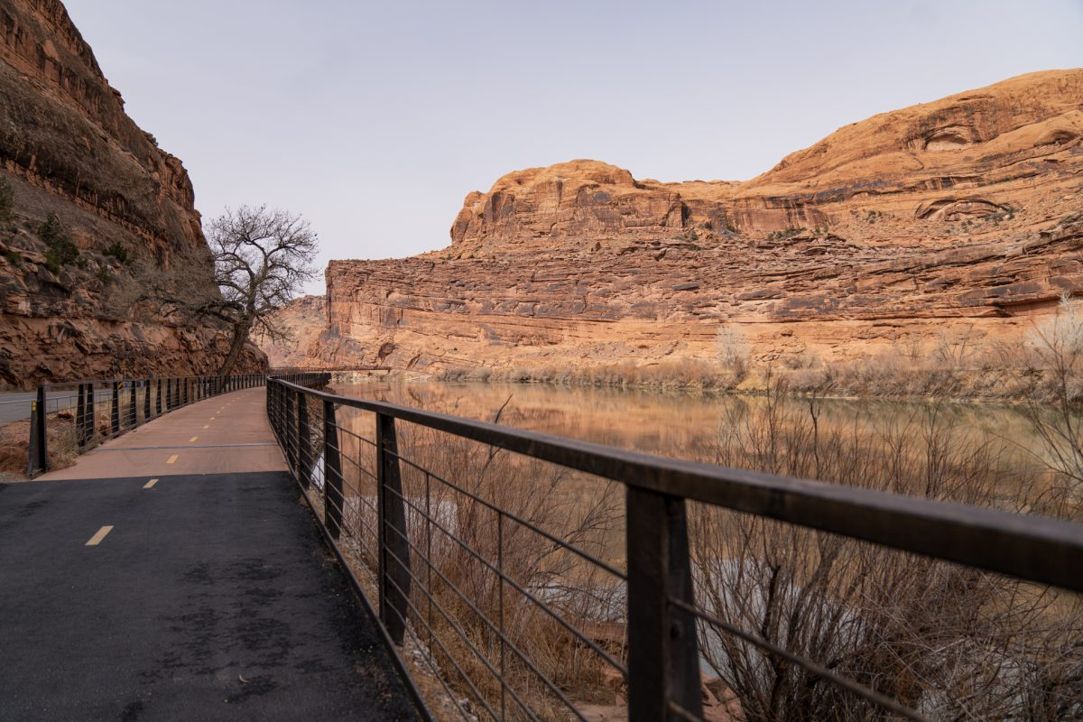 A walkway along the Colorado River on the La Sal Mountain Loop in Moab, Utah.