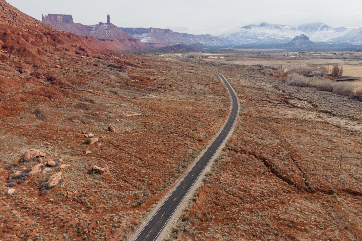The La Sal Mountain Loop Road going through Castle Valley, Utah.