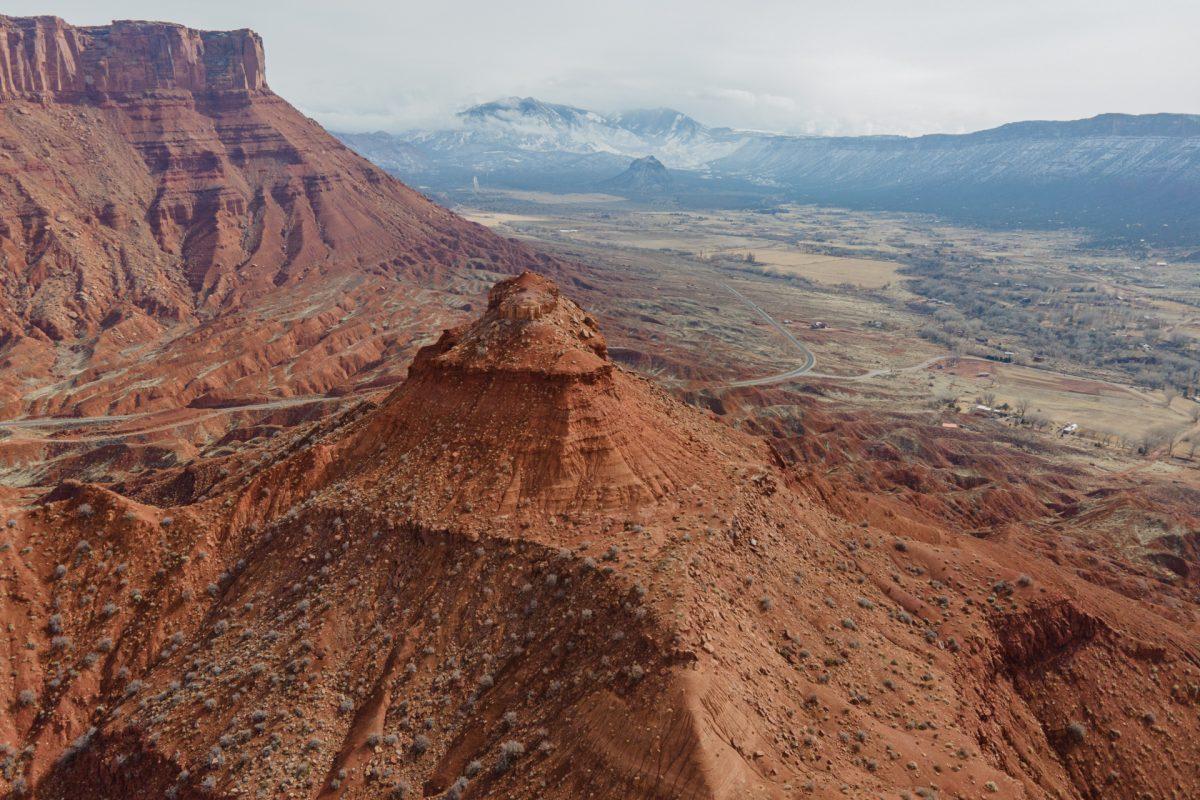 An aerial image of a pinnacle located in Castle Valley, Utah.