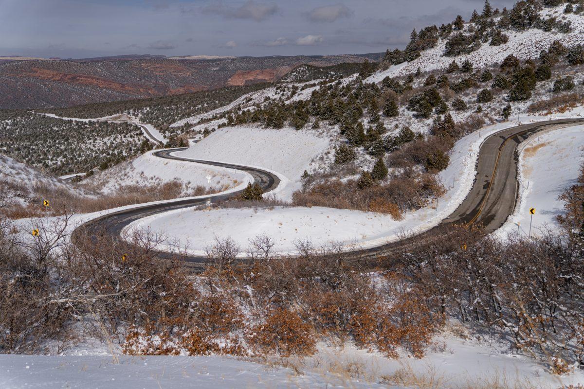The winding road of the La Sal Mountain loop in Moab, Utah.