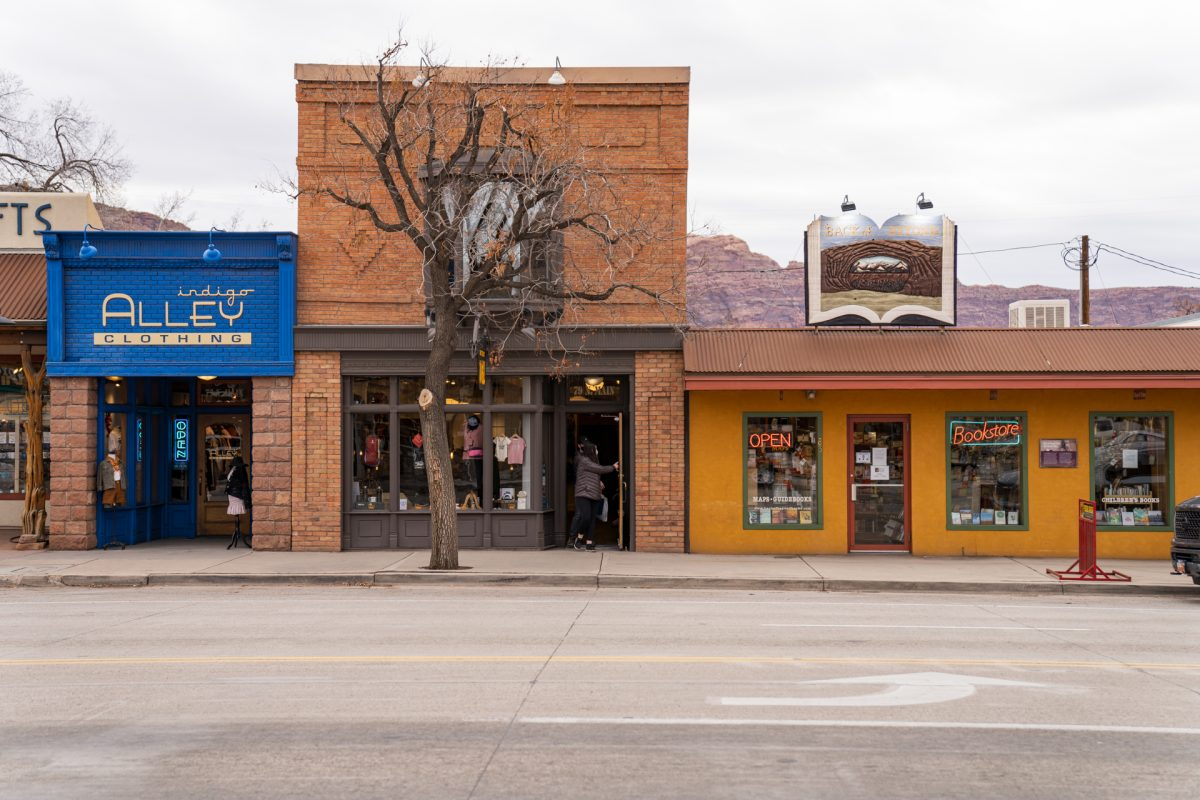 The storefront of Back of Beyond Books in Moab, Utah.