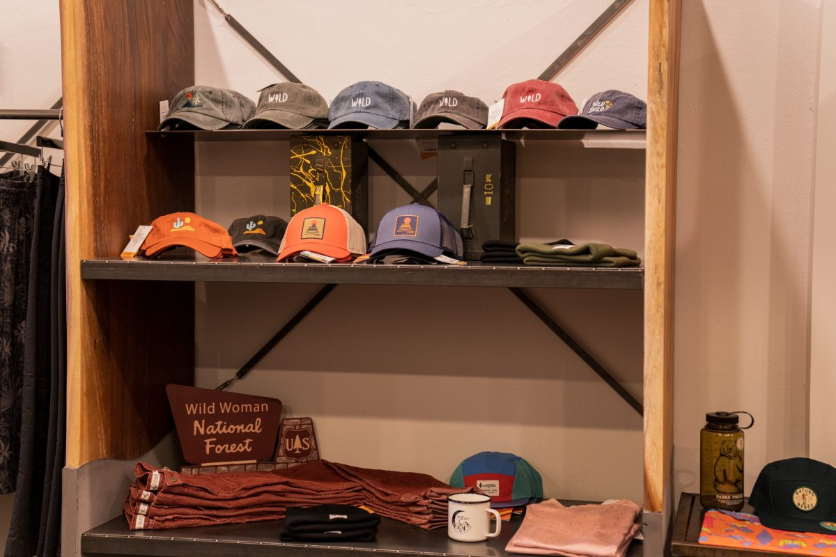 A hat and clothing display at the Desert Wild shop located in Moab, Utah.